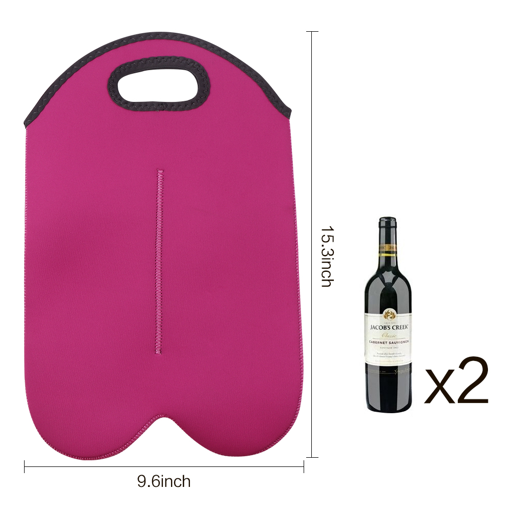2 Bottle Wine Carrier Tote Bag For Travel Red