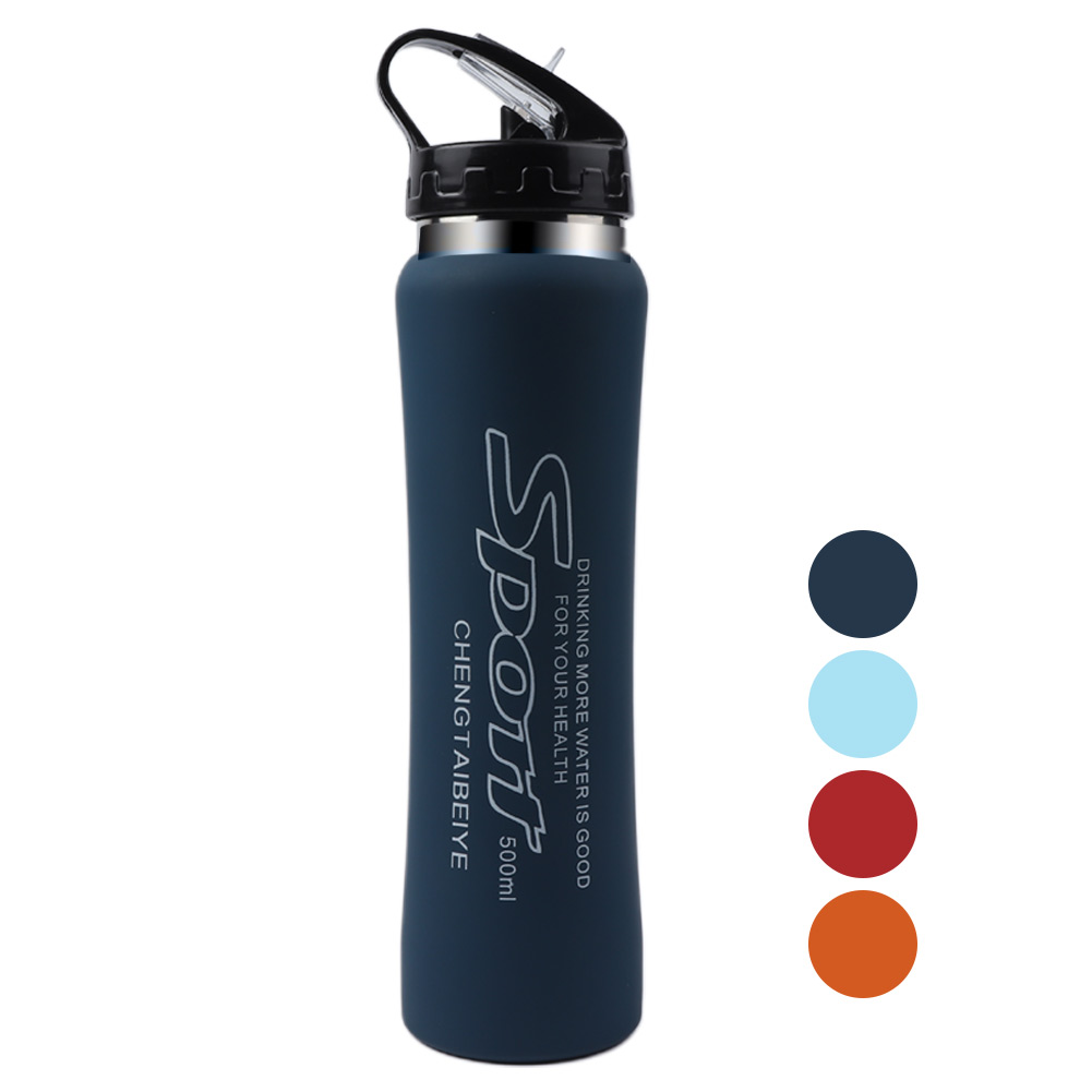 500ml Sports Water Bottle With Straw Lid Red