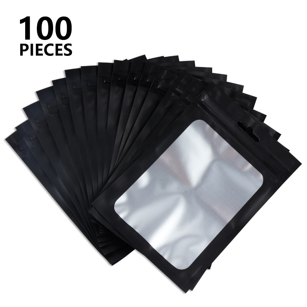 100 Pack Mylar Ziplock Food Storage Bags With Clear Window