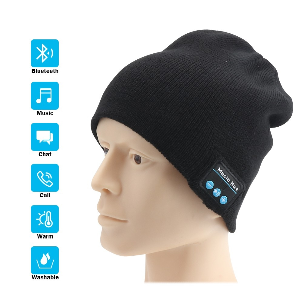 Rechargeable Bluetooth Beanie Hat With Double Knitted