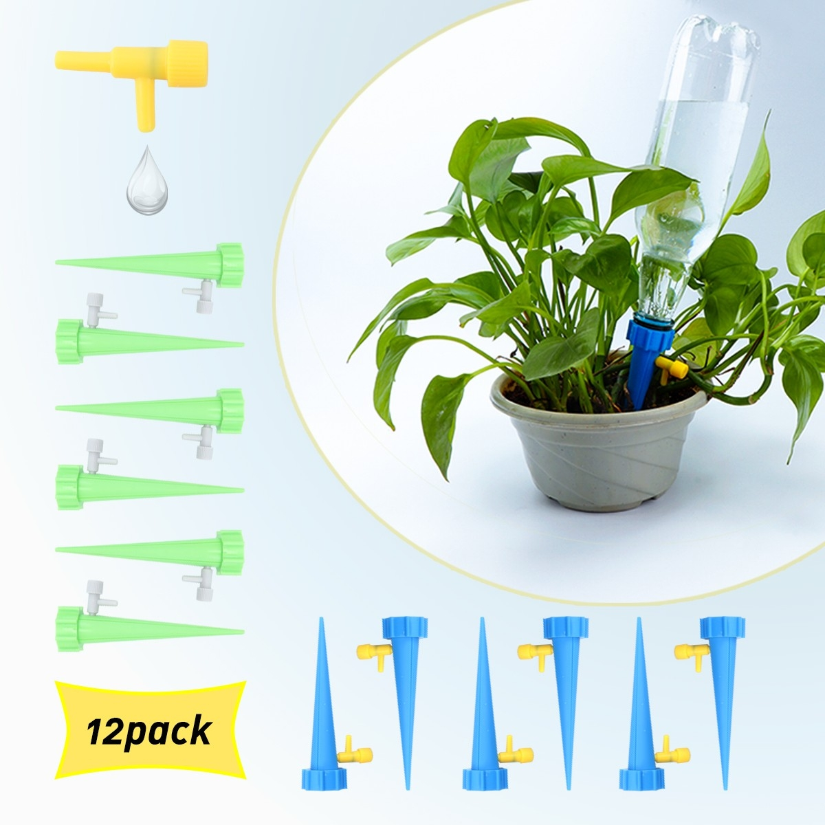 12 Pack Self Watering Spikes Irrigation Drippers Adjustable