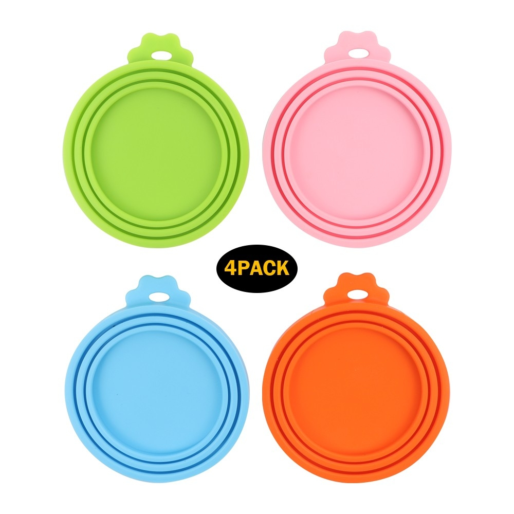 Universal Silicone Cat Dog Food Can Lids Covers Four Colors