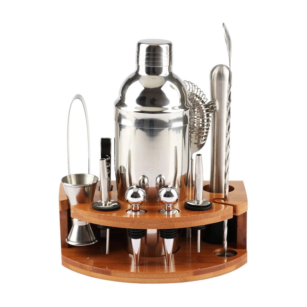 12 Piece Home Cocktail Shaker Set With Bamboo Base
