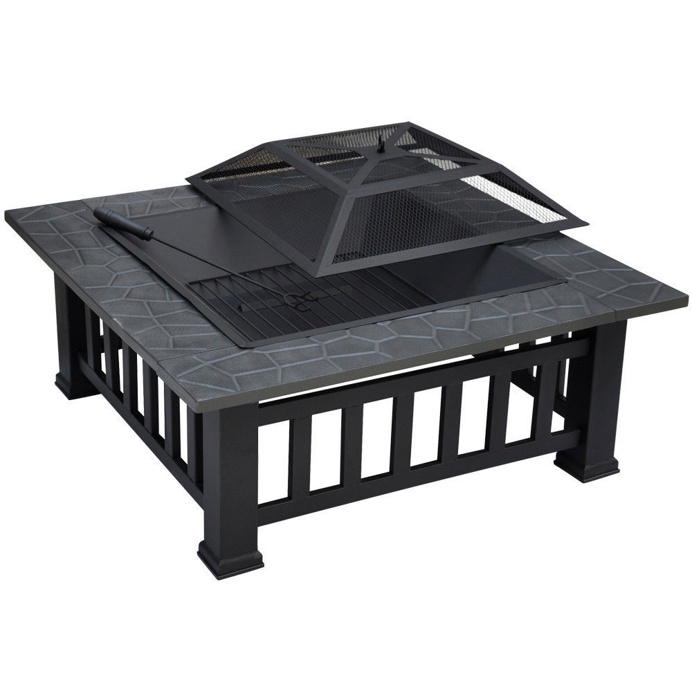 Outdoor Multi-functional Grill Table Stainless Steel Casual Patio Grill