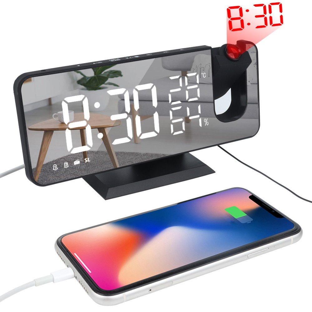 Large Mirror Led Projection Digital Alarm Clock For Bedrooms Decor