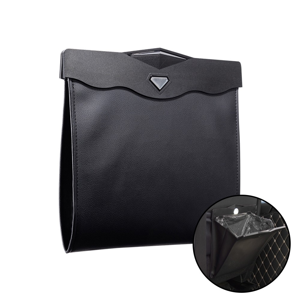 Pu Leather Smart Led Car Trash Can With Free Trash Bags