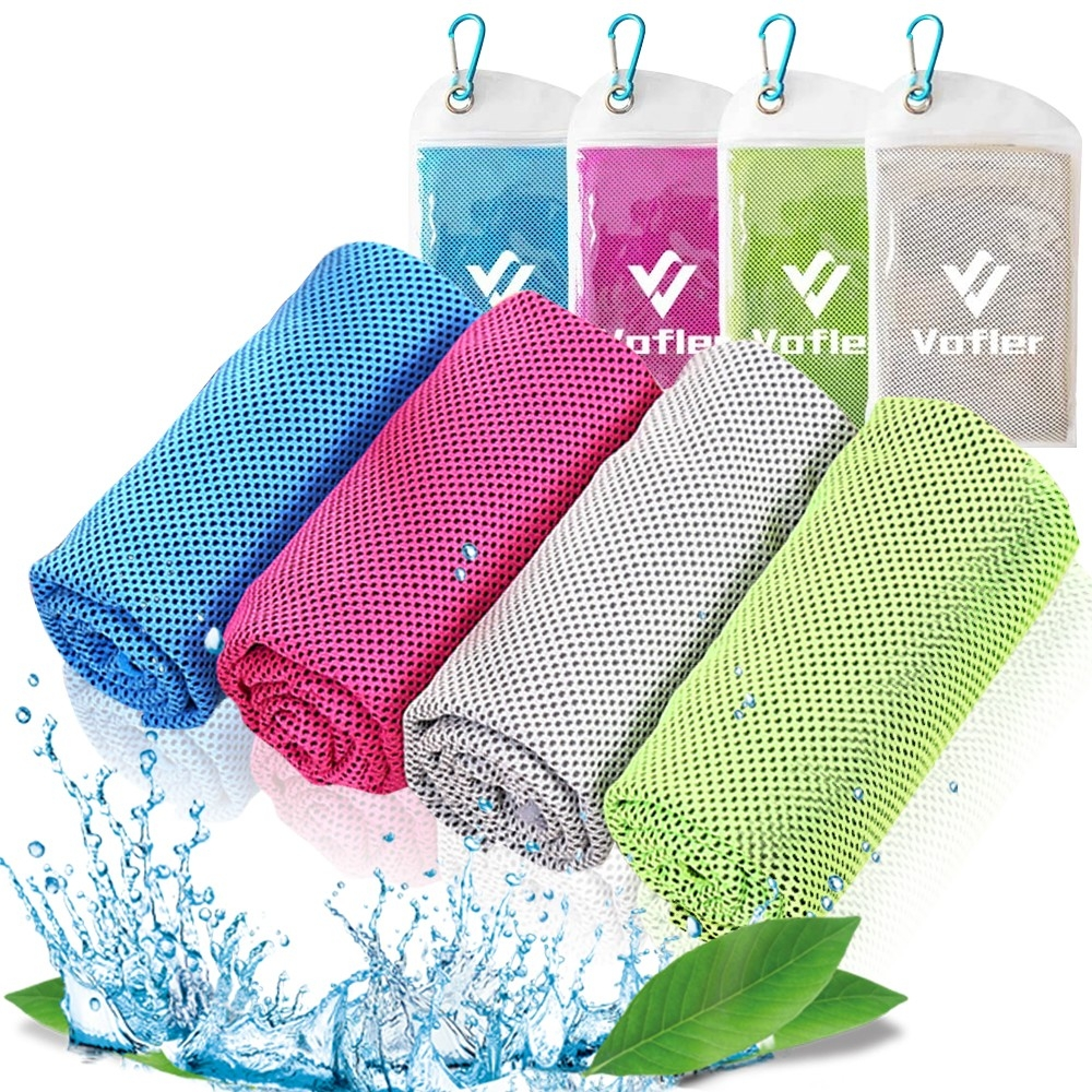 """Cooling Towel (40""""x12"""") Ice Towel Soft Breathable Microfiber 4 Pack"""