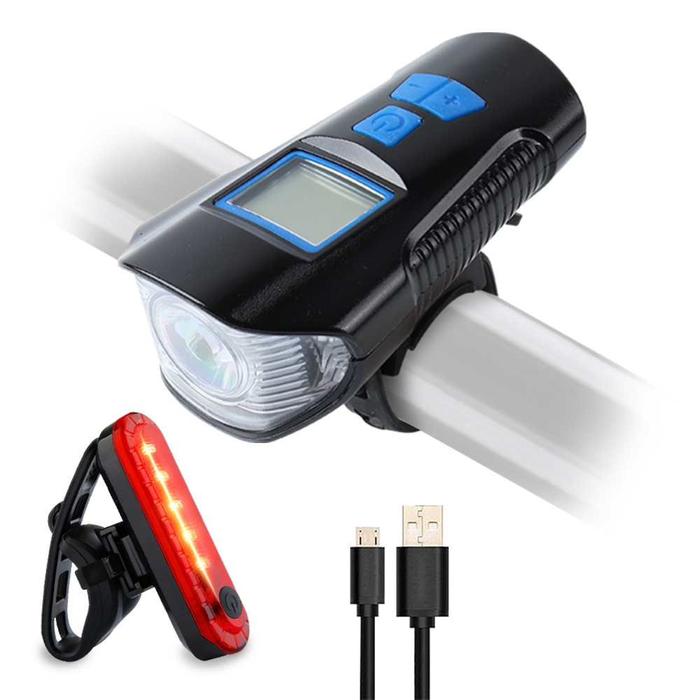 Bike Front Light And Tail Light Set With Bicycle Speedometer