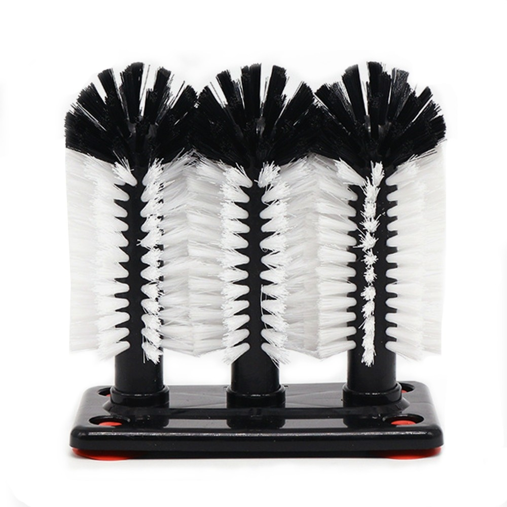 Glass Washer 3 Head Bristle Brush With Suction Base For Beer Cup
