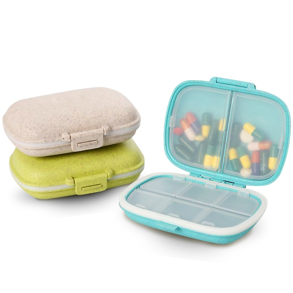 Portable Daily Pill Case ,3 Pack 8 Compartments Travel Pill Organizer