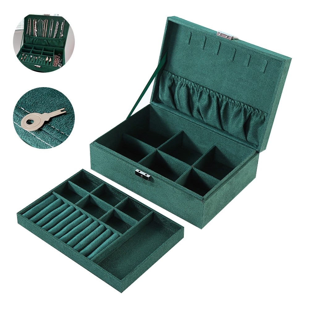 Large Capacity Multi-layer Necklace Ring Hairpin Finishing Flannel Clamshell Jewelry Box