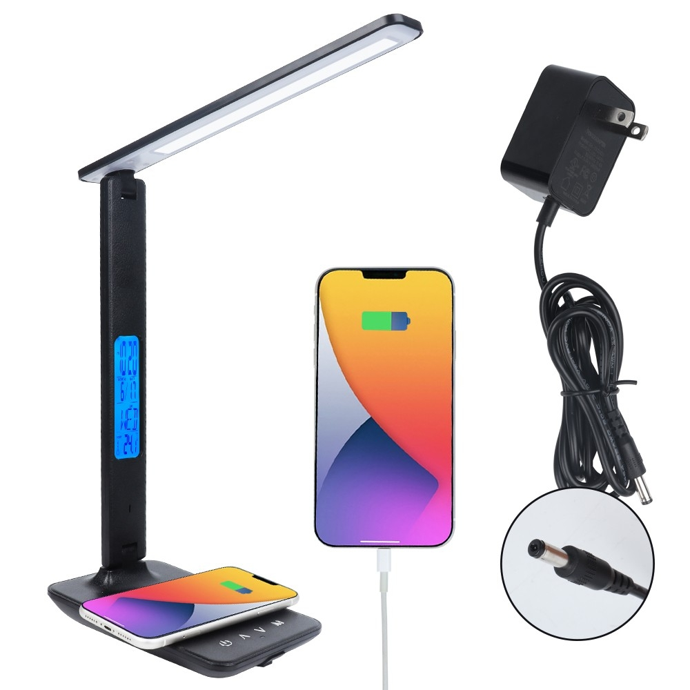 Led Desk Lamp With Wireless Charger,adjust Brightness,with Clock Alarm Date Temperature